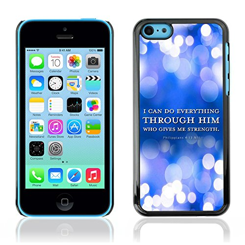 DREAMCASE Citation de Bible Coque de Protection Image Rigide Etui solide Housse T¨¦l¨¦phone Case Pour APPLE IPHONE 5C - PHILIPPIANS 4:13 I CAN DO EVERYTHING