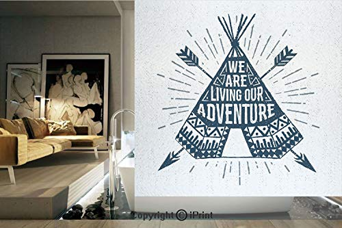 (Decorative Privacy Window Film/Teepee Crossed Arrows We are Living Our Adventure Inspirational Lettering Decorative/No-Glue Self Static Cling for Home Bedroom Bathroom Kitchen Office Decor Dark Blue)