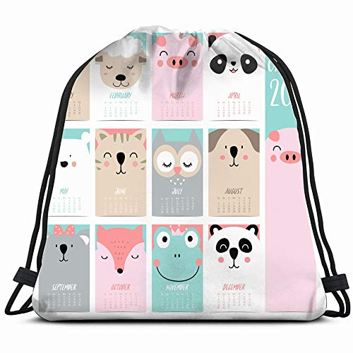 Doodle Calendar Set 2019 Bearpigpandasheepcatowlfoxfogkoala Children Holidays Miscellaneous Drawstring Backpack Bag For Kids Boys Girls Teens Birthday, Gift String Bag Gym Cinch Sack For School And Pa