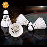 ZHENAN 12-Pack Advanced Goose Feather Badminton Shuttlecocks with Great Stability and Durability,Shuttlecock Indoor