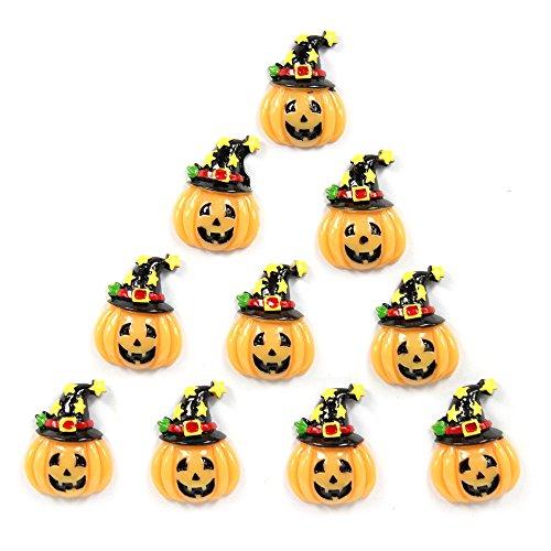 Bulk 10pcs Halloween Pumpkin w/ Magic Star Hat Flatback Resin Scrapbooking Cabochons DIY Hair Bow Center Decoration Embellishments (Halloween Embellishments For Hair Bows)