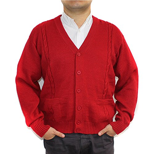 V-neck Wool Blend Cardigan (ALPACA CARDIGAN GOLF SWEATER JERSEY BRIAD V neck buttons and Pockets made in PERU RED L)