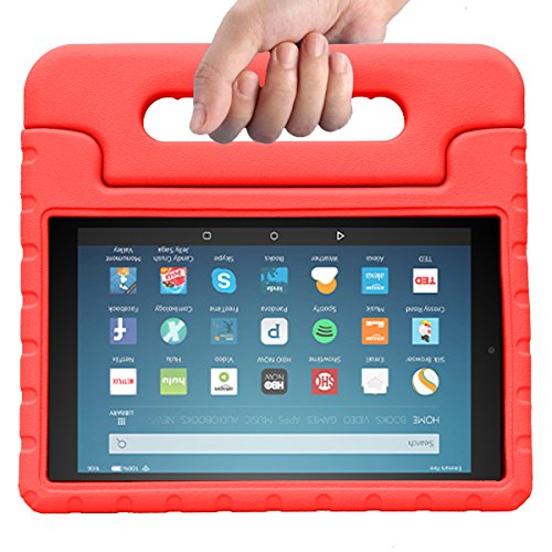 "MENZO Case for All-New Fire HD 8 2017 - Shockproof Convertible Handle Light Weight Protective Stand Cover Kids Case for All-New Kindle Fire HD 8"" 2017 Tablet, Red"