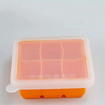 Kaxima Silicona, cajas de comida para bebés, cajas de bocadillos, cubiertos bebé, nítida, congelador, caja de almacenamiento de alimentos, 12.5x12.5x4.5cm: ...