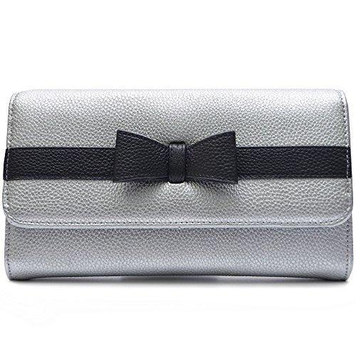 Damen Tasche Umhängetasche Abendtasche Clutch mit Schulterriemen und Handschlaufe mit Schleife Grau 6y4OgF