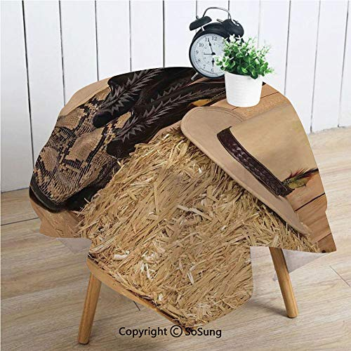 Western Decor Square Polyester Tablecloth,Snake Skin Cowboy Boots Timber Planks in Barn with Hay Old West Austin Texas,Dining Room Kitchen Square Table Cover,34W X 34L inches,Cream Brown]()