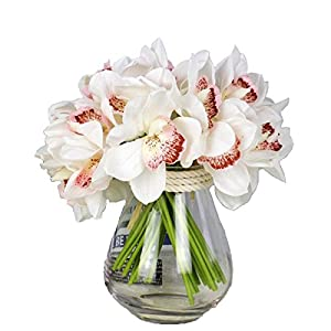12 PCS High Quaulity Latex Real Touch Cymbidium Orchid Artificial Flower Bouquet for Wedding Holiday Bridal Bouquet Home Party Decor bridesmaid (White) 16