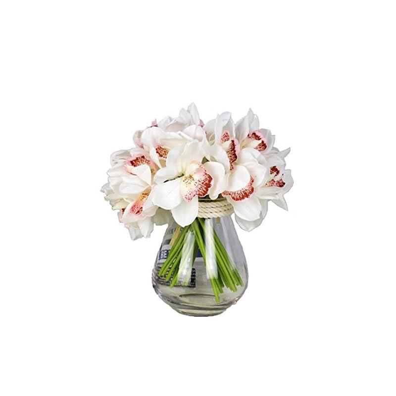 silk flower arrangements lebritamfa 12 pcs high quaulity latex real touch cymbidium orchid artificial flower bouquet for wedding holiday bridal bouquet home party decor bridesmaid (white)
