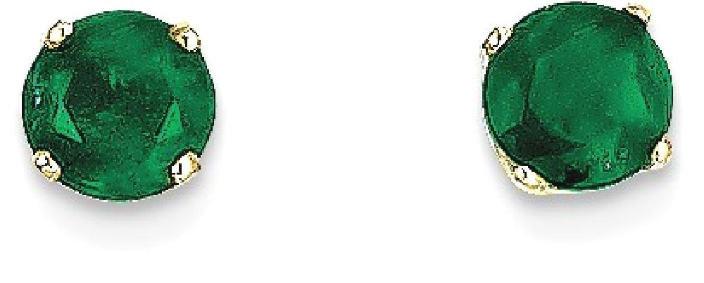 ICE CARATS 14k Yellow Gold 5mm Green Emerald Post Stud Ball Button Earrings May Birthstone Prong Fine Jewelry Gift Set For Women Heart