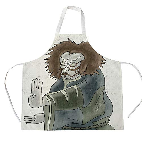 iPrint Cotton Linen Apron,Two Side Pocket,Kabuki Mask Decoration,Theater Character with Asian Mask Oriental Drama Gesture Acting Decorative,Multicolor,for Cooking Baking Gardening