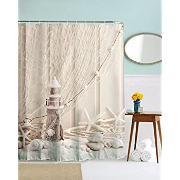 A.Monamour Beige Backgrounds Fishing Net Starfish Wooden Lighthouse Picture  Print Waterproof Mildew Resistant Fabric