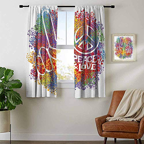 youpinnong 70s Party, Party Curtains Decorations, Hippie Peace and Love Symbol and Signs Two Fingers Pacifist Colorful Design Art, for Bedroom, W63 x L63 Inch Multicolor