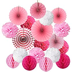 Hanging Paper Fan Set, Cocodeko Tissue Paper Pom Poms Flower Fan and Honeycomb Balls for Birthday Baby Shower Wedding Festival Decorations - Pink