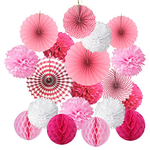 Cocodeko SG_B0771B8PGW_US Hanging Set, Tissue Paper Poms Flower Fan and Honeycomb Balls for Birthday Baby Shower Wedding Festival Decorations-Pink, 3 -
