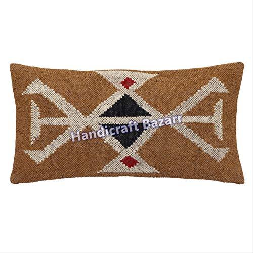 (12x24 Cushion Throw Handwoven Killim Wool Jute Rectangular Designer Pattern Home Decor Cushion Vintage Indian Designer Back Throw Case Outdoor Bed Pillow Throw Ethnic Pattern Fancy Cushion Cover)
