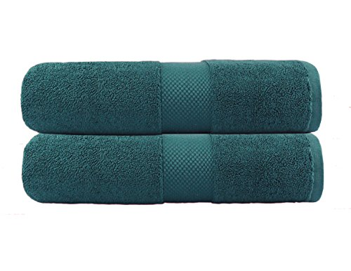 Cotton Craft – 2 Pack Luxuriously Oversized Hotel Bath Sheet – Teal- 100% Ringspun Cotton – 40×80 – Heavy Weight 700 Grams – 2 Ply Construction – Highly Absorbent – Easy Care Machine Wash