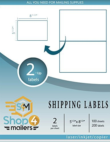 Shop4Mailers 2-Up White Shipping Labels 5 1 2