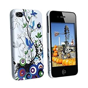 Bloutina Apple iPhone 4 (AT&T/Verizon) White Blue Spring Flower Premium Design Slim Fit Rubber Touch Hard Case + Bonus...