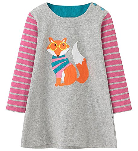 LYXIOF Girls Cotton Long Sleeve Dresses Cute Cartoon Animal Print Casual T-Shirt Tunic Dress G 5