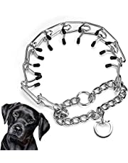 XSAQWE Prong Dog Training Collar, Adjustable Stainless Steel Dog Chain Collar, Dog Correction Collar with Neck Pinching Device, Suitable for Small, Medium and Large Dogs
