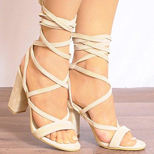 Womens Nudo Allacciate Avvolgono Rotondo Peep Toes Strappy Sandali Tacchi Alti Scarpe UK6/EURO39/AUS7/USA8
