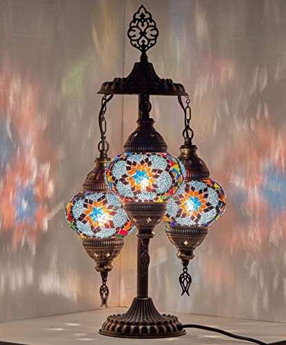 DEMMEX 2019 Stunning 3 Globe Turkish Moroccan Bohemian Table Desk Bedside Night Lamp Light Lampshade with North American Plug & Socket, 19 Inches (Blue Waves)