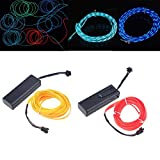 Chasing EL Wire w/ Battery Pack,POSSBAY Glowing Neon Strip Light DIY Decoration for Festival Christmas Home Party Wedding Dance 5M 16.4ft Ice Blue