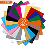 Heat Transfer Vinyl 12'' x 10'' - 20 Upgrade Quality Sheets Assorted Colors DIY T-Shirt Heat Transfer Bundle Iron On HTV for Cricut and and Other Cutters