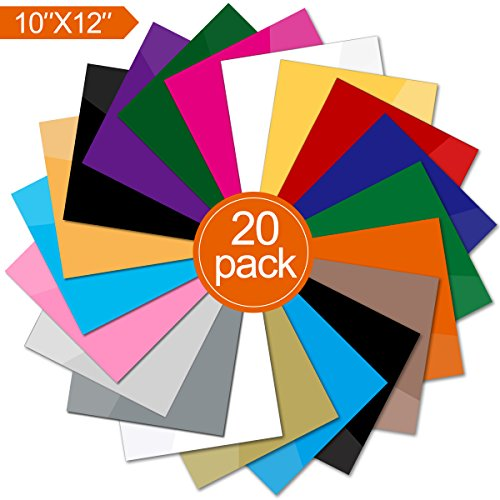 Heat Transfer Vinyl 12'' x 10'' - 20 Upgrade Quality Sheets Assorted Colors DIY T-Shirt Heat Transfer Bundle Iron On HTV for Cricut and and Other Cutters by STORUP
