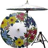 "Japanese Garden Decor - 84"" Eastern Bouquet Oriental Patio Umbrella & Stand"
