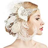 BABEYOND 1920s Flapper Peacock Feather Headband 20s Sequined Showgirl Headpiece (Style-6)