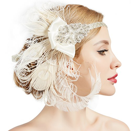 BABEYOND 1920s Flapper Peacock Feather Headband 20s Sequined Showgirl Headpiece -