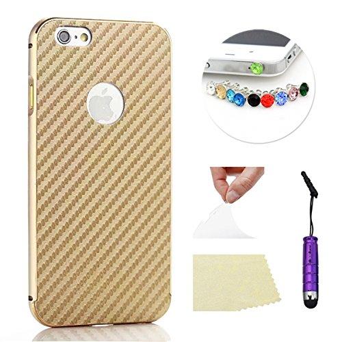 iPhone 5 5S Funda Case LifeePro Stylish 2 in 1 Patrón de teléfono híbrido [Anti-rasguños] [Antideslizante] Resistente a los golpes PU Cuero Dorado Contraportada + Caja de parachoques de aluminio para  Dorado