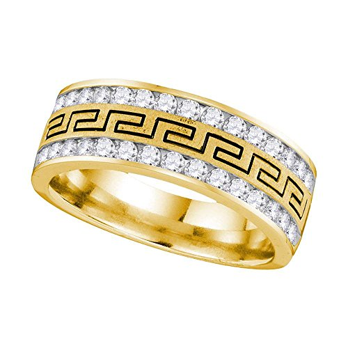 14kt Yellow Gold Mens Round Diamond Grecco Wedding Band Ring 1/4 Cttw (I1-I2 clarity; H-I (Mens Ring 14kt Gold Jewelry)