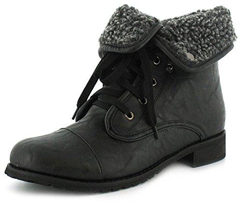 Damen / Damen schwarz Militär Stil Stiefelette mit überlagert Zehenkappe Schwarz - UK Größen 3-8