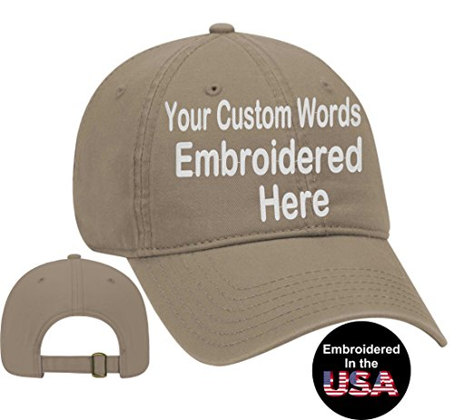 Logo Print Khaki - Custom Text Embroidered Dad Hat. Unstructured Adjustable Metal Buckle (Dark Khaki Dad Hat)