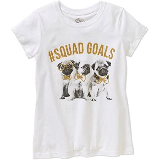 268862077 Girls Pug Squad #Squad Goals Short Sleeve Crew Neck Graphic T-Shirt (4