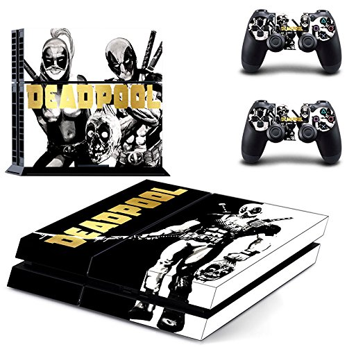 [MightyStickers® PS4 Wrap Skin Game Console + 2 Controller Decal Vinyl Protective Covers Stickers Sony PlayStation 4 Marvel Comics Super Heroes Deadpool Red Mask Man Kills Bad Smart Great Ass Rogue] (Easy Marvel Costumes)