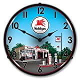New Mobil Station Retro Vintage Style Advertising Backlit Lighted Clock – Ships Free Next Business Day to Lower 48 States For Sale