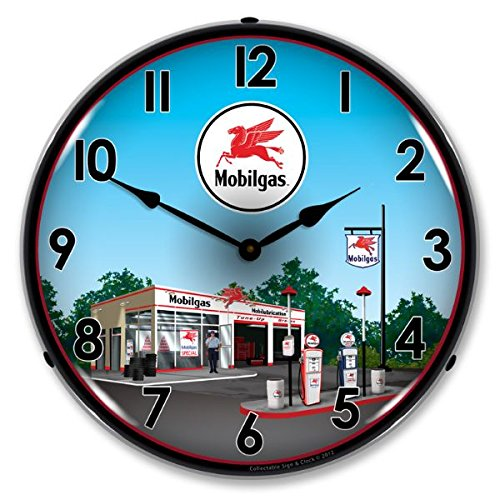 New Mobil Station Retro Vintage Style Advertising Backlit Lighted Clock - Ships Free Next Business Day to Lower 48 States