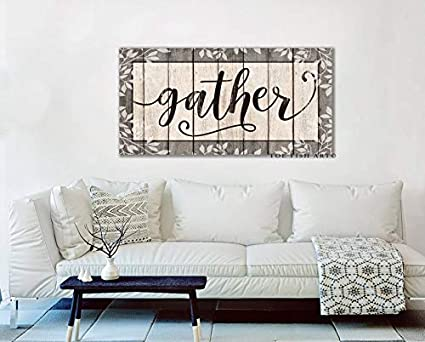 CELYCASY Large Gather Sign Dining Room Sign Wall Decor Modern Farmhouse  Decor Living Room Fixer Upper Style Kitchen Art Gift for Her Canvas Print