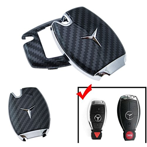 Xotic Tech Full Protection Smart Key Fob Cover Shell Case for Mercedes-Benz C E S M CLS CLK G Class Black Carbon Fiber Pattern with Logo