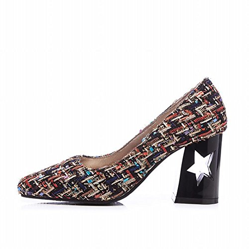 Charme Pied Femmes Mode Percé Chunky Chaussures À Talons Hauts Chaussures Multicolores