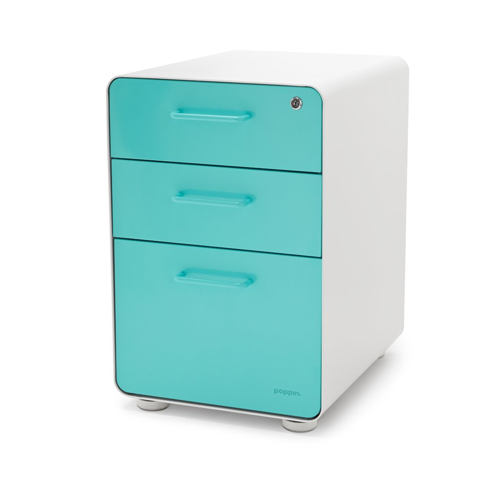 Poppin White + Aqua Stow 3 Drawer File Cabinet, Available In 10 Colors,