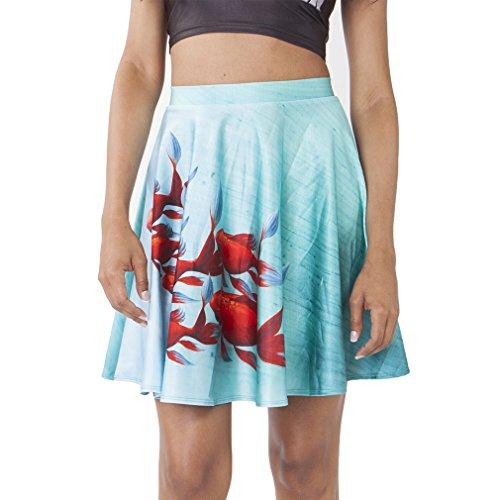 ee28f70a1d21 Honghu Classic Ajustada Impresión Printing Mini Kitt Falda para Mujer cheap