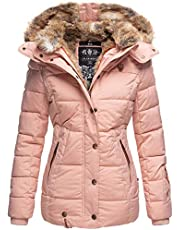 Marikoo B658 Warme winterjas voor dames, gewatteerd, imitatiebont