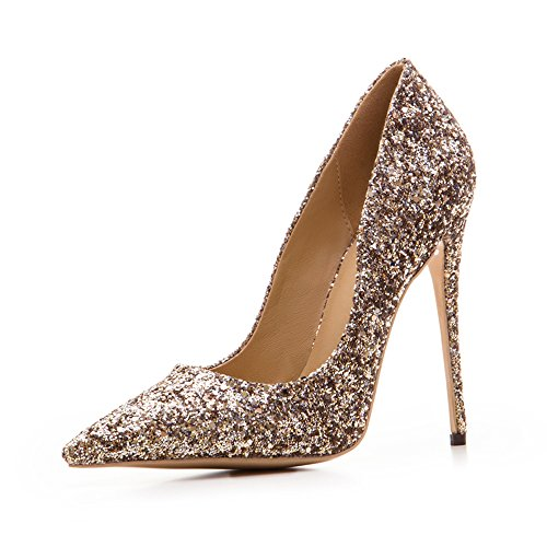 Gold High Heel Pump (Womens Pointed Toe 12CM High Heel pumps Slip-on Sequins pumps Wedding Party pumps Shoes-Gold-7)