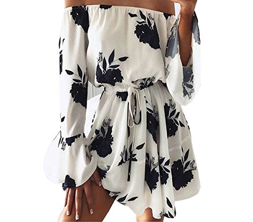 Ahava Avenue Summer and Beach Floral Boho Mini Dress for Women (XL= Bust 31.10-39.76 Front Length 31.49 inches, White with Black Flowers)