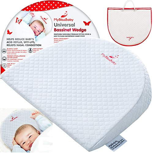 (Baby Bassinet Wedge for Acid Reflux Relief Better Sleep Infant Incline Positioner Newborn Sleeping Pillow with Cotton Waterproof Removable Cover and 3 EBooks)