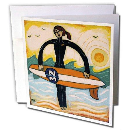 Paul Honatke Designs Prints – Surfer Girl outdoors recreation woman girl surf ocean – Greeting Cards